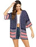 Dealwell Women Floral Print Short Kimono Cardigan Loose Beach Cover up (Navy Blue, Small)