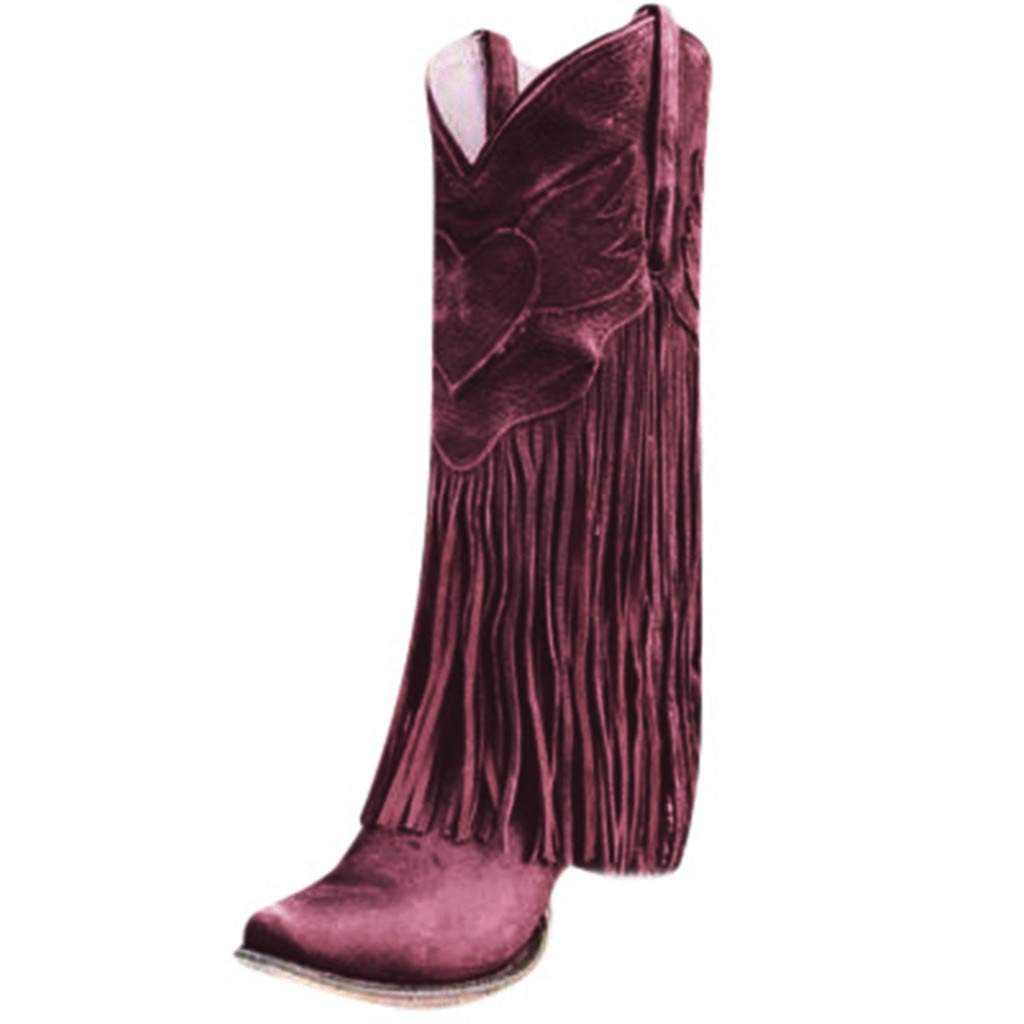 Kauneus Women's Fashion Tassel Vintage Boots Chunky Mid Heel Wide Calf High Boots Western Style Plus Size Boots Red by Kauneus Fashion Shoes