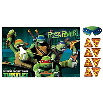Teenage mutant ninja turtles party game feed the pizza to mikey multicolored