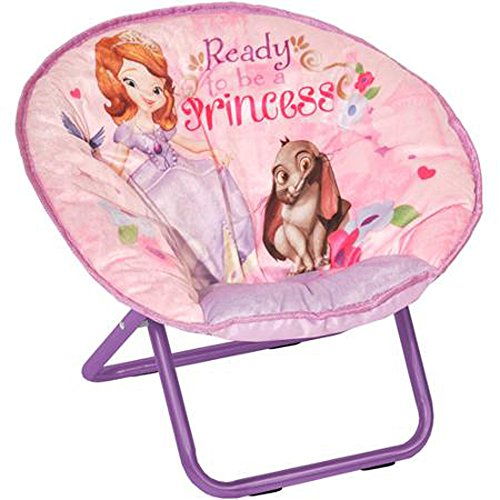 Sofia the First Mini Saucer Chair Toddler Kids Seat Portable Character Girls Comfortable Collapsible Sturdy Metal Frame Polyester Cushioned Seat Playroom Easy Storage Bedroom Children