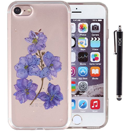 iPhone 7 Case, iYCK Handmade [Real Dried Flower and Leaf Embedded] Pressed Floral Flexible Soft Rubber Gel TPU Protective Shell Bumper Back Case Cover…