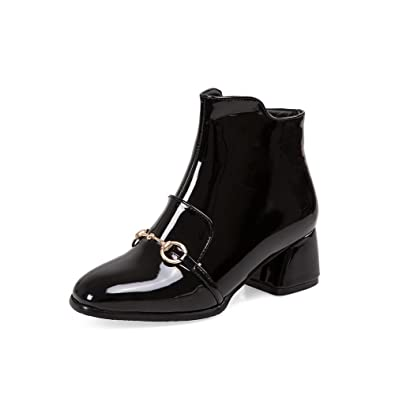 Women's Solid Pu Low Heels Zipper Square Closed Toe Boots