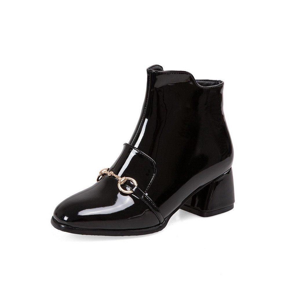 AllhqFashion Women's Low-Top Solid Zipper Square Closed Toe Kitten-Heels Boots, Black, 43