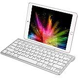 CHESONA Bluetooth Keyboard Ultra Slim Sliding Stand Universal Wireless Bluetooth Keyboard Compatible Apple iOS iPad Pro Mini Air iPhone, Android Galaxy Tab Smartphones, Windows PC-White …