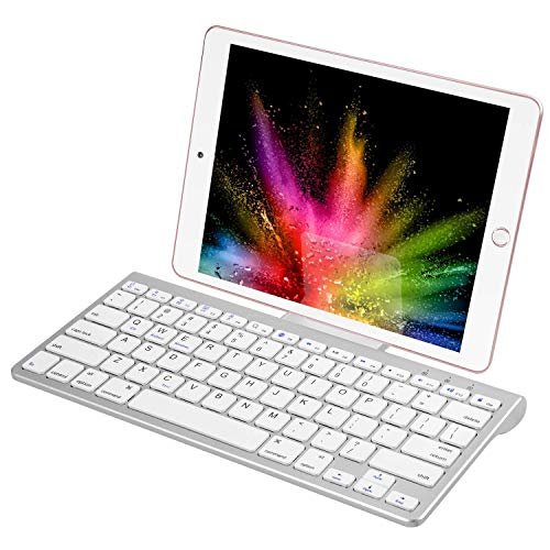 CHESONA Bluetooth Keyboard Ultra Slim Sliding Stand Universal Wireless Bluetooth Keyboard Compatible Apple iOS iPad Pro Mini Air iPhone, Android Galaxy Tab Smartphones, Windows PC-White