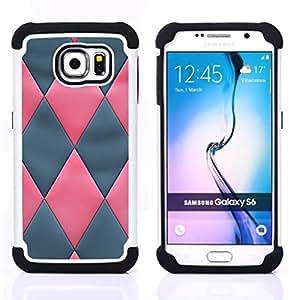 For Samsung Galaxy S6 G9200 - pink grey 3D Leather pattern Dual Layer caso de Shell HUELGA Impacto pata de cabra con im??genes gr??ficas Steam - Funny Shop -