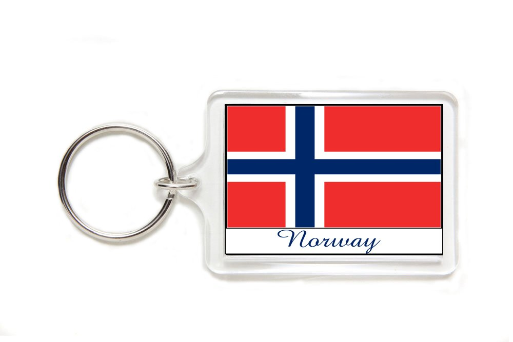 Souvenir Norway Norwegian Flag Double Sided Acrylic Key Ring Large Stocking Stuffer