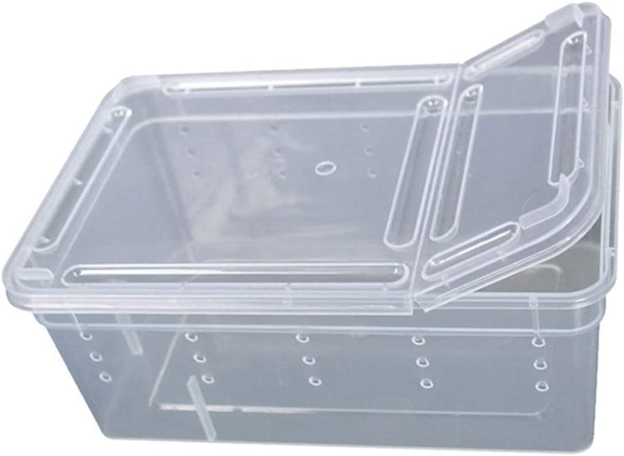 Baost Transperent Plastic Box Insect Pet Reptile Transport Breeding Live Food Feeding Case Lightweight Breathable Snakes Spider Lizard Frog Feeding Container Hatchery Box