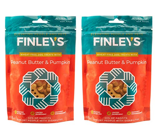 Finley's Barkery Peanut Butter & Pumpkin Wheat-Free Dog Treats - Natural Crunchy Limited Ingredient Dog Biscuits Free of Corn & Soy (2 Pack)