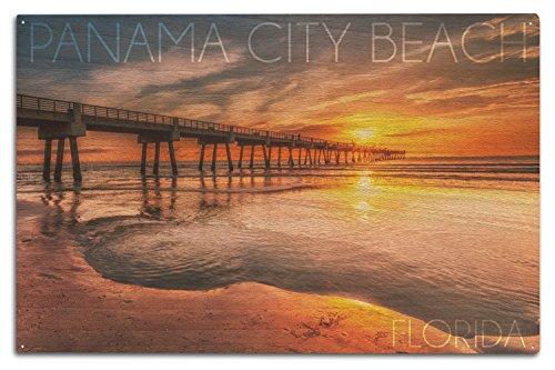 Lantern Press Panama City Beach, Florida - Pier and Sunset (10x15 Wood Wall Sign, Wall Decor Ready to ()