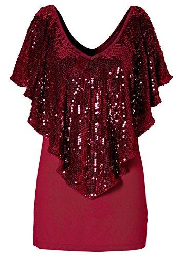 Yollmart Womens Sequin Long Sleeve V Neck Blouse Pullover T Shirt1055 Red Xxl