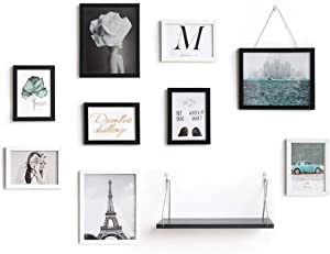SONGWAY Multi Collage Picture Frames - Collage Picture Frame for Wall, Picture Frame Set of 9, Shelf with 9-Opening Photo Collage, Black and White