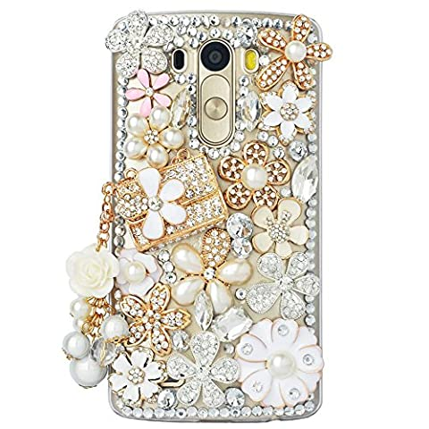 ZTE Grand X MAX 2 Case, ZTE Zmax Pro Case, STENES 3D Handmade Luxury Crystal Bag Pearl Flowers Pendant Floral Sparkle Rhinestone Design Cover Bling Case with Retro Bows Dust Plug - (Zte Zmax Phone Cases With Pearls)