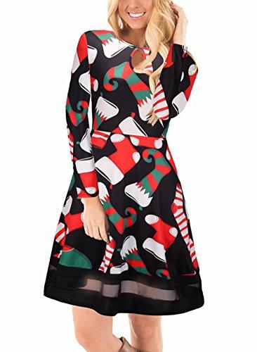 Ruiyige di delle 2 del donne della da Xmas masticare Tipo stampa floreale Natale lunga Nero Vestito da di manica vestito 1Opqwaat