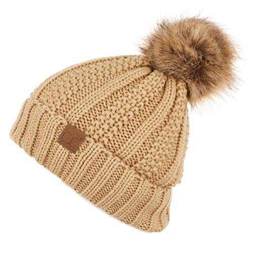 C.C Exclusives Fuzzy Lined Knit Fur Pom Beanie Hat (YJ-820) (Camel)]()