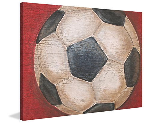Marmont Hill Crackle Soccer Ball Print on Wrapped Canvas, 48'' x 40'', Multicolor by Marmont Hill