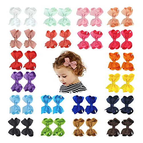 Baby Girls Hair Bows Clips Boutique Grosgrain Ribbon Bow Pinwheel Barrettes For Babies Kids Toddlers Teens Gifts (Multi Color A-40PCS) ()