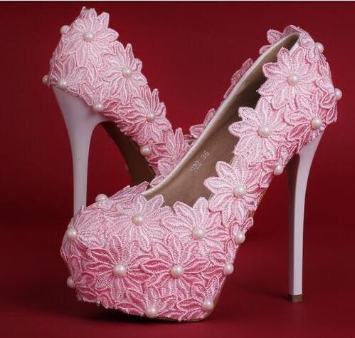 Si& Mode dreidimensionale Blumen/Stickerei/Friesen/wasserdicht/Super hohen Stiletto/Hochzeitsschuhe Pink