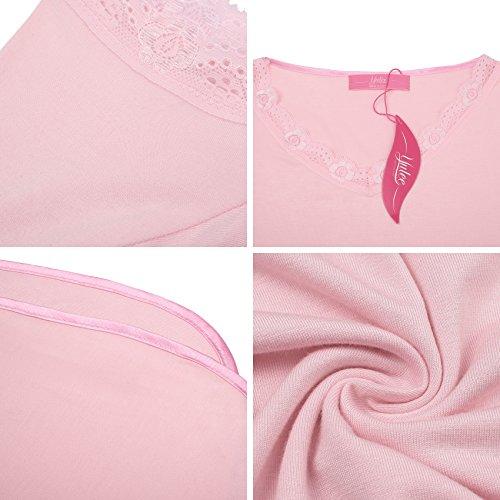 Da Cotone Pink Yulee Camicia Lunghe Pigiama Notti Donna Corta Notte Manica n5UpZXUqF