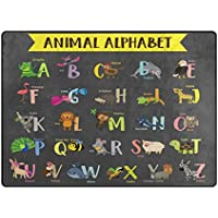 U LIFE Animal Alphabet Large Area Rug Runner Floor Mat Carpet for Kids Classroom Entrance Way Doorway Living Room Bedroom 63 x 48 & 80 x 58 Inch 5.3 x 4 & 6.6 x 4.8 Feet