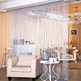 Desirable Life Decorative Door String Curtains Wall Panel Tassels Blinds Room Divider for Wedding Party Restaurant Home (Silvery Grey, 39.4 x78.7)