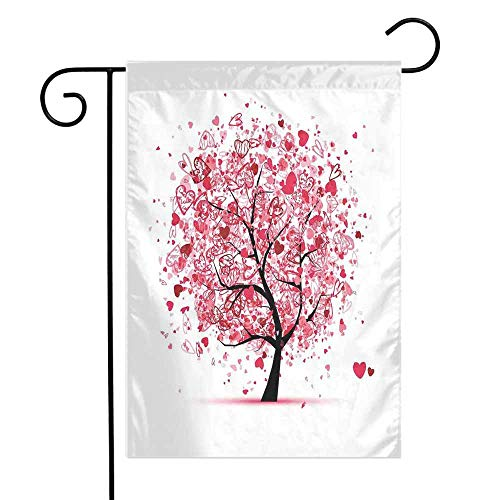 (Mannwarehouse Tree of Life Garden Flag Ornate Valentine Tree with Swirling Hearts Doodles Love Future Couple Decorative Premium Material W12 x L18 Red Black)