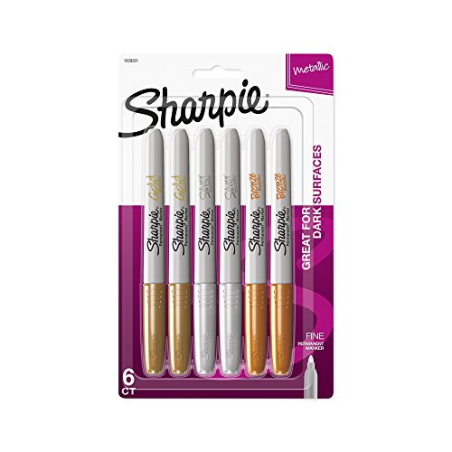 Sharpie Metallic Permanent Markers, Fine Point, Assorted Metallic, 6 ()