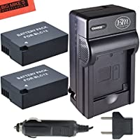 Pack of 2 DMW-BLC12 Batteries and Battery Charger for Panasonic Lumix DMC-GX8, DMC-G5, DMC-G6K, DMC-G6KK, DMC-G7, DMC-G85, DMC-GH2, DMC-FZ200, DMC-FZ300, DMC-FZ1000, DMC-FZ2500 Digital Camera