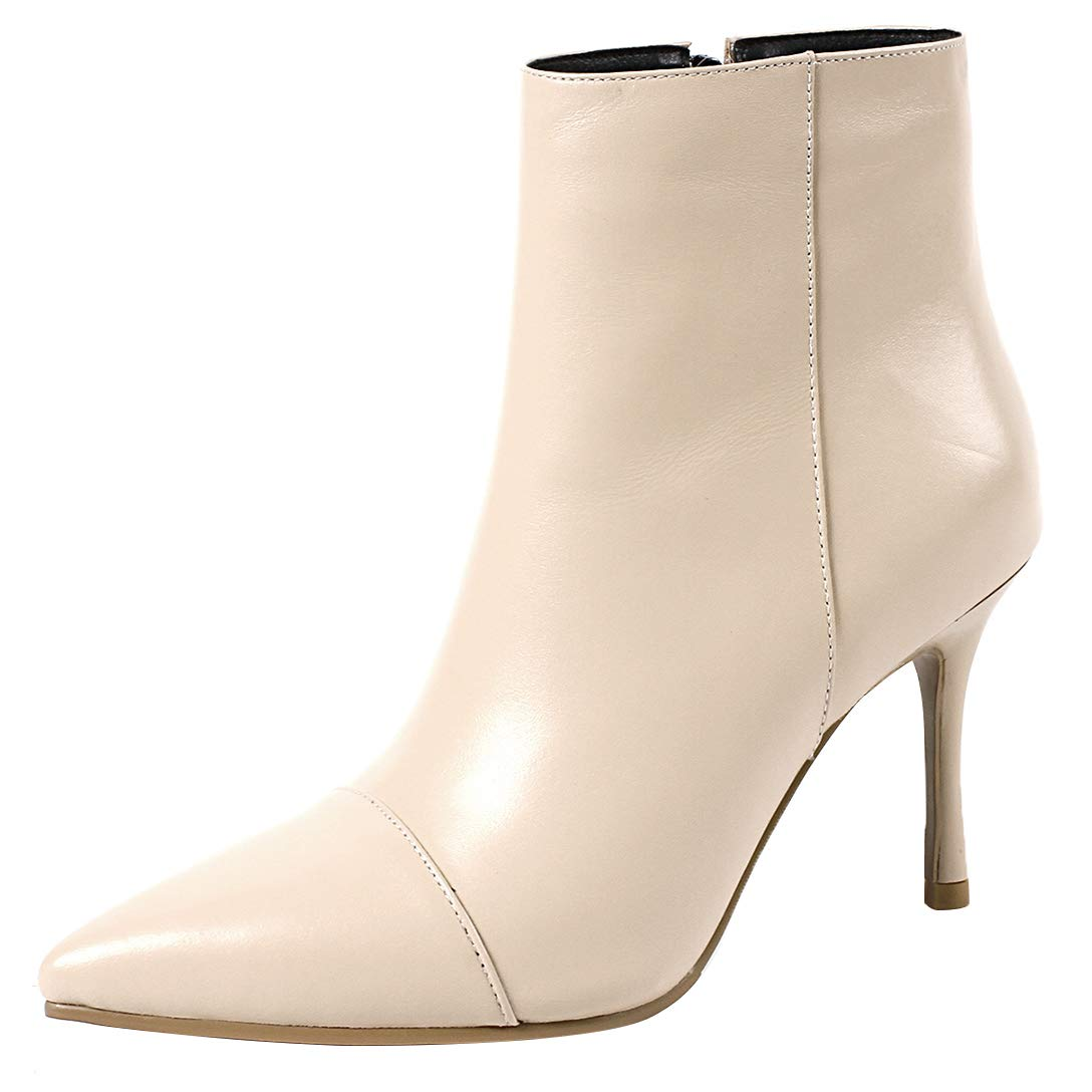 White Eithy Women's Shabou Stiletto Ankle-high Zipper Leather Boots