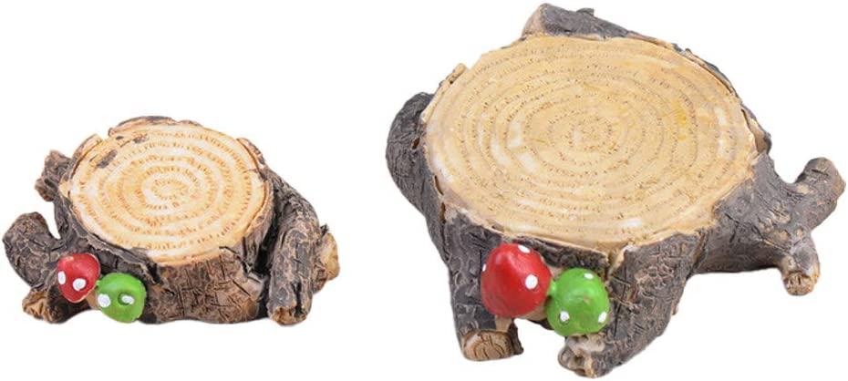MAOMIA Set of 2 Miniature Fairy Garden Tree Stump Mushroom Figurines, Micro Landscape Garden Terrarium Kit Dollhouse DIY Outdoor Decorations Plant Pot Ornaments