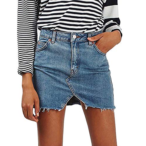 DEATU Women Skirt Clearance Sales! Ladies Pretty Fashion High Waist A-Line Denim Distressed Bodycon Short Jean Skirt (Blue 2,2XL)