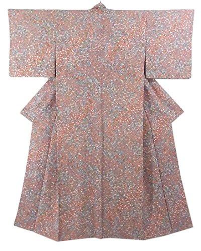 おびえた民兵狂うリサイクル 着物 小紋 総柄 四季花に宝尽くし 正絹 袷 裄62.5cm 身丈160cm