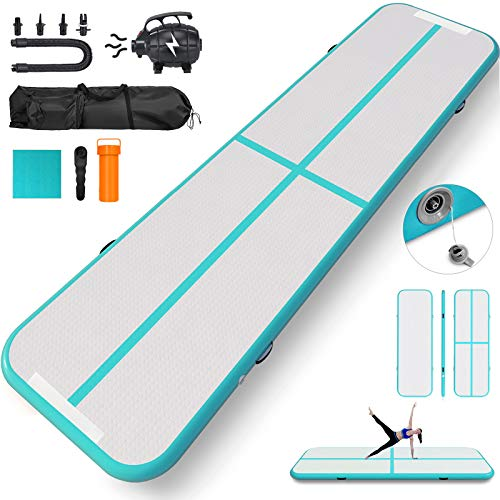 Happybuy 10ft 13ft 16ft 20ft 23ft 26ft 30ft Air Track 8 inches Airtrack 4 inches Inflatable Air Track Tumbling Mat for Gymnastics Martial Arts Cheerleading Tumble Track with Pump Tiffany 10ft 40x4in