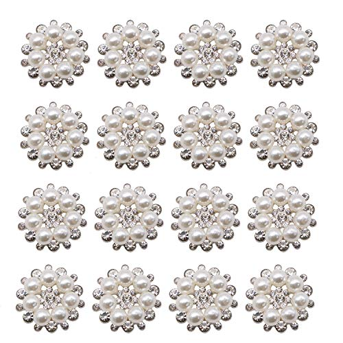 JETEHO Pack of 12 Faux Pearl Flower Embellishments Button Flatback for Craft Jewelry ()