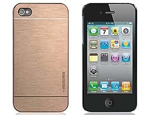 CECT STOCK Motomo trefilado de plástico para el iPhone 4/4S (Gold Luxury)
