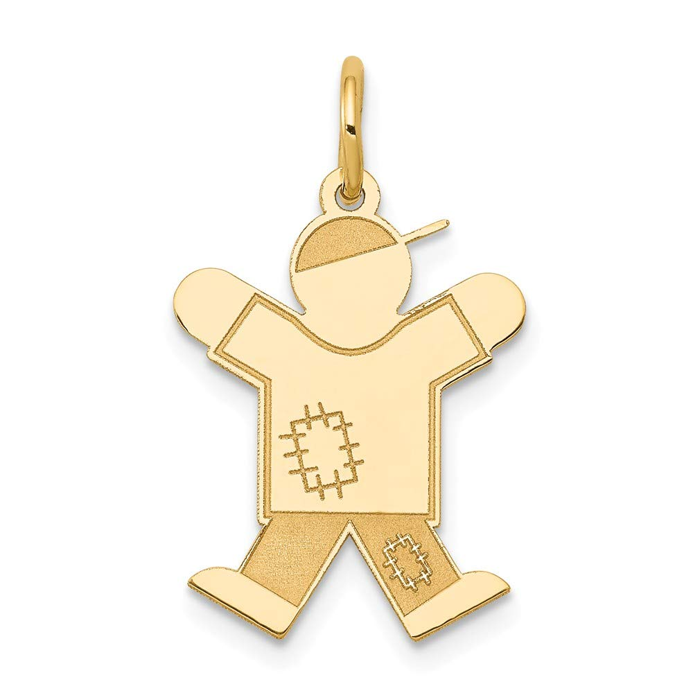 The Kids Collection 14K Yellow Gold Laser Cut Jumping Kid Boy Charm Pendant