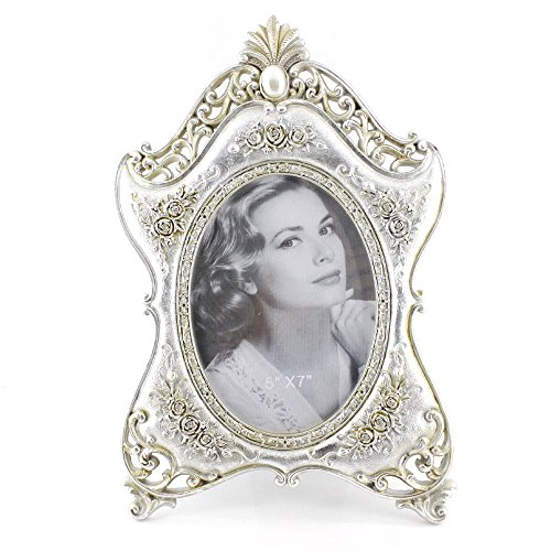 5x7 Inches Exquisite Victorian Oval Single Desk Stand Picture Photo - Frame Silver Oval