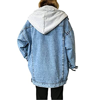 Gihuo Women's Oversized Loose Boyfriend Denim Jacket Hooded Jean Jacket at Women's Coats Shop