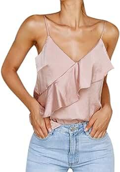 Camisetas Tirantes Sexy para Mujer Verano 2019 PAOLIAN Top Tirantes Finos Fiesta Cuello V Sin Manga Blusas Volantes Camisolas Hombro Descubierto: Amazon.es: Ropa y accesorios
