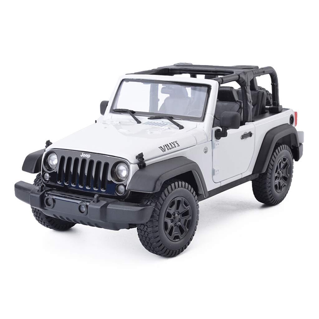 KTYXGKL 車のモデル1:18ジープラングラーシミュレーション合金ダイカスト玩具装飾品SUVコレクションジュエリー22 x 10.5 x 10 CM Model car (色 : 白) B07QQ3YTTG 白