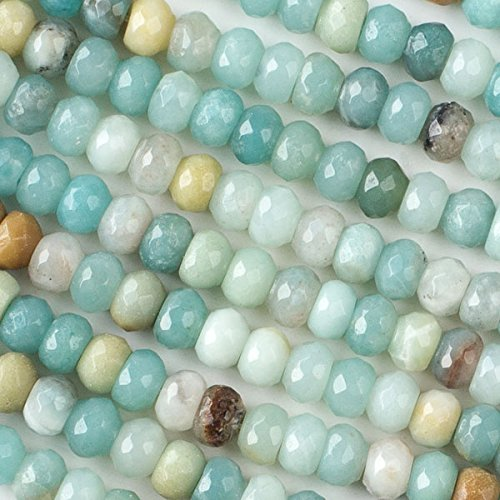 Cherry Blossom Beads Amazonite Beads 5x8mm Faceted Rondelle - 8 Inch Strand