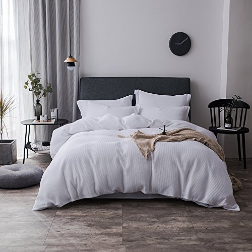 - Merryfeel 100% Cotton Waffle Weave Duvet Cover Set - Full/Queen White
