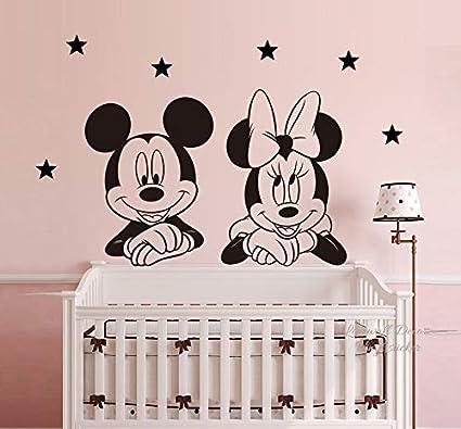 mickey la souris minnie mouse etoiles disney autocollant mural mural art deco decoration de maison art mural decoration decalcomanies chambre de bebe