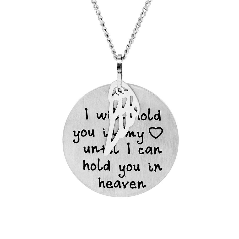 Eves Addiction Custom Stainless Steel Hold You in My Heart Bereavement Pendant w//Angel Wing 18, 20, 24 Chain