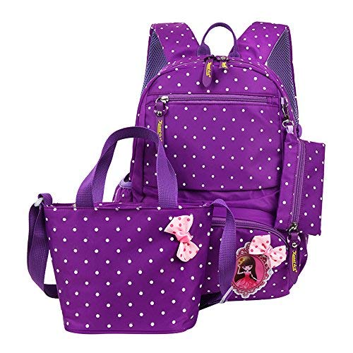 (Fanci 3Pcs Polka Dot Princess Style Elementary Kids School Backpack Bookbag Set for Teens Girls School Bag with Handbag)