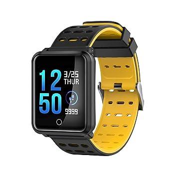 Lizes Montre connectée de Fitness au Design élégant (Noir et Jaune) avec LED Bluetooth