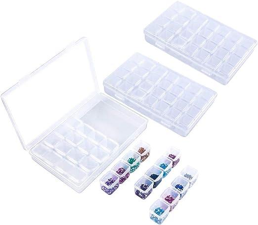 SNOWINSPRING Caja de Bordado de Diamantes de 3 Piezas con 28 Compartimentos Cada con Rejilla de Pintura de 5D y contenedor de Accesorios para Manualidades con Herramientas de Punto de Cruz: Amazon.es: