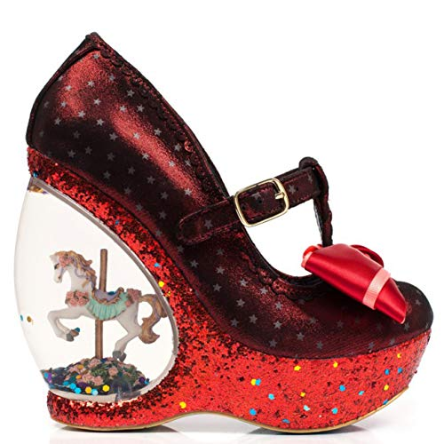 Platform Wedge Womens Irregular Shoes Choice Carousel Red Glitter Chestnut YgO46X