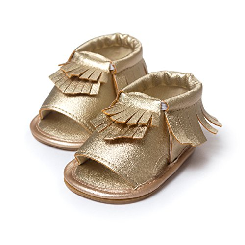 etrack-online bebé niño niña Prewalker de piel sintética borla de Verano Sandalias blanco roto blanco Talla:12-18months dorado