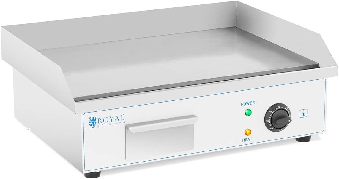 Royal Catering Fry Top Eléctrico para Cocina Parrilla Profesional RC-EG54 (Placa: 550 x 350 mm, Potencia: 3.000 W, Superficie de calentamiento lisa)